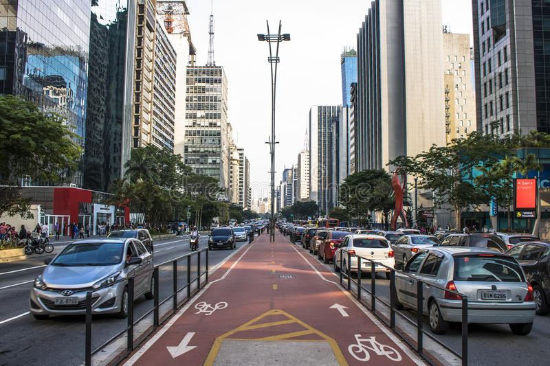 Paulista Avenue. Sao Paulo, Brazil, SP, Brazil, December 02, 2016. Bicycle path in Paulista Avenue. This is one of the most important thoroughfares of the city stock image