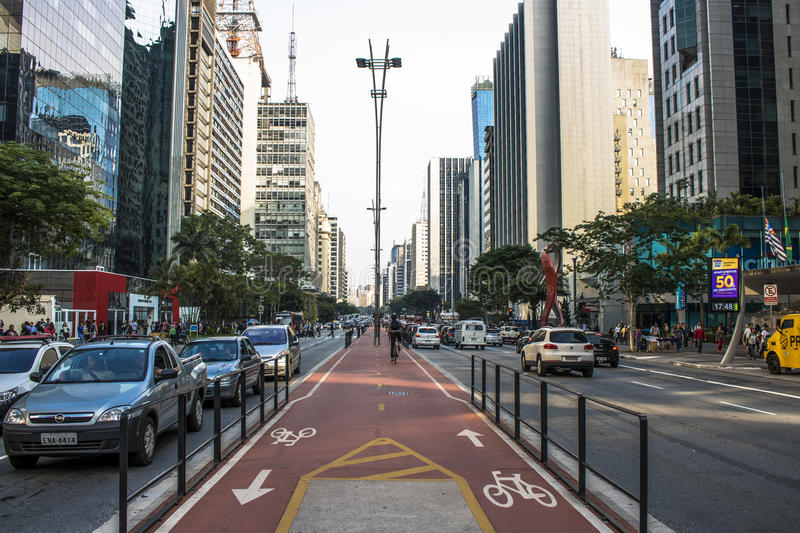 Paulista Avenue. Sao Paulo, Brazil, SP, Brazil, December 02, 2016. Bicycle path in Paulista Avenue. This is one of the most important thoroughfares of the city royalty free stock photos