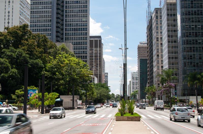 Paulista aveny i Sao Paulo, Brasilien fotografering för bildbyråer
