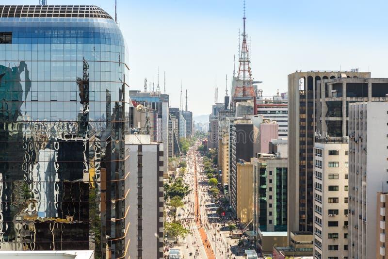 Paulista aveny, Sao Paulo, Brasilien royaltyfri bild