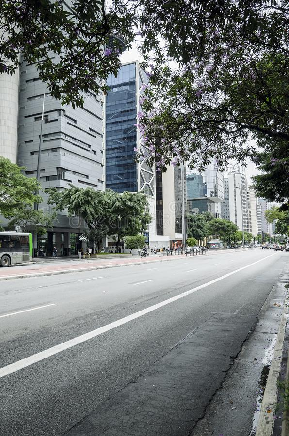 Paulista aveny, Sao Paulo SP Brasilien royaltyfri bild