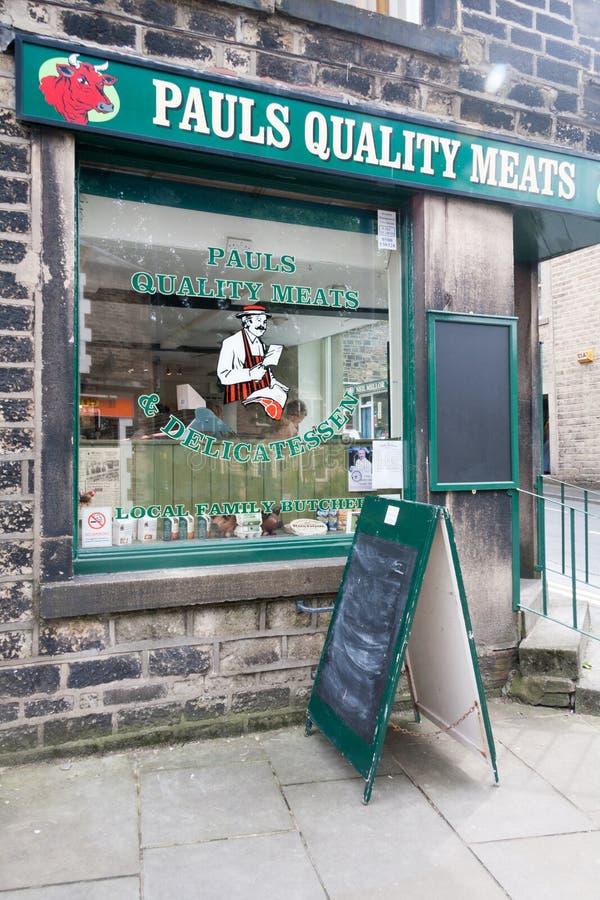 Pauls der Qualitäts-Fleischmetzgerei, Uppermill, Oldham, Lancashire, England, Vereinigtes Königreich stockfotos