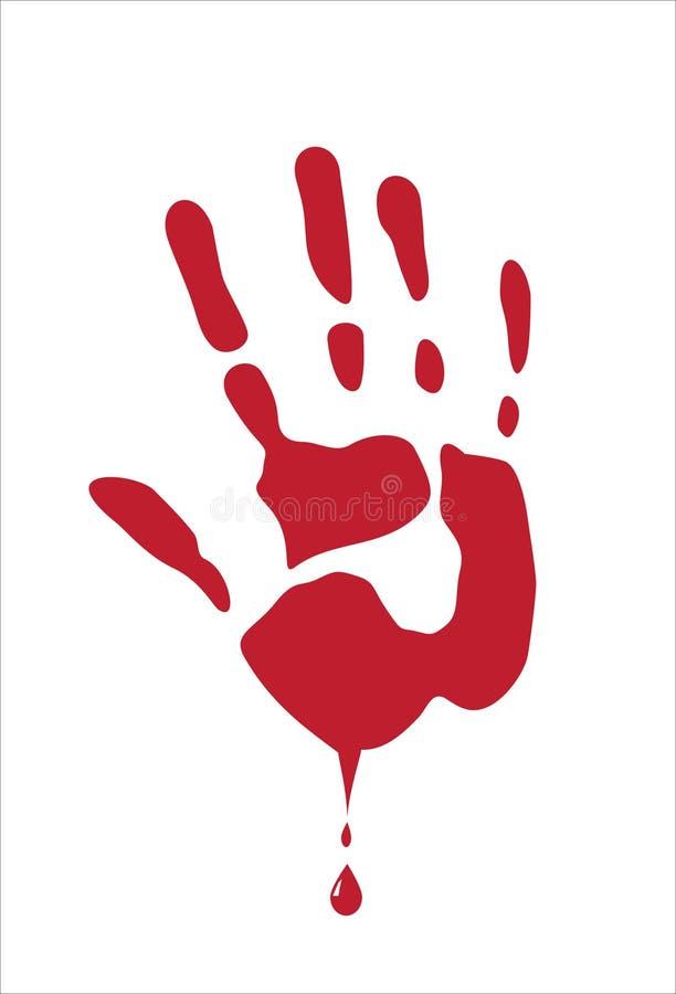 Paume de sang sur le blanc image libre de droits