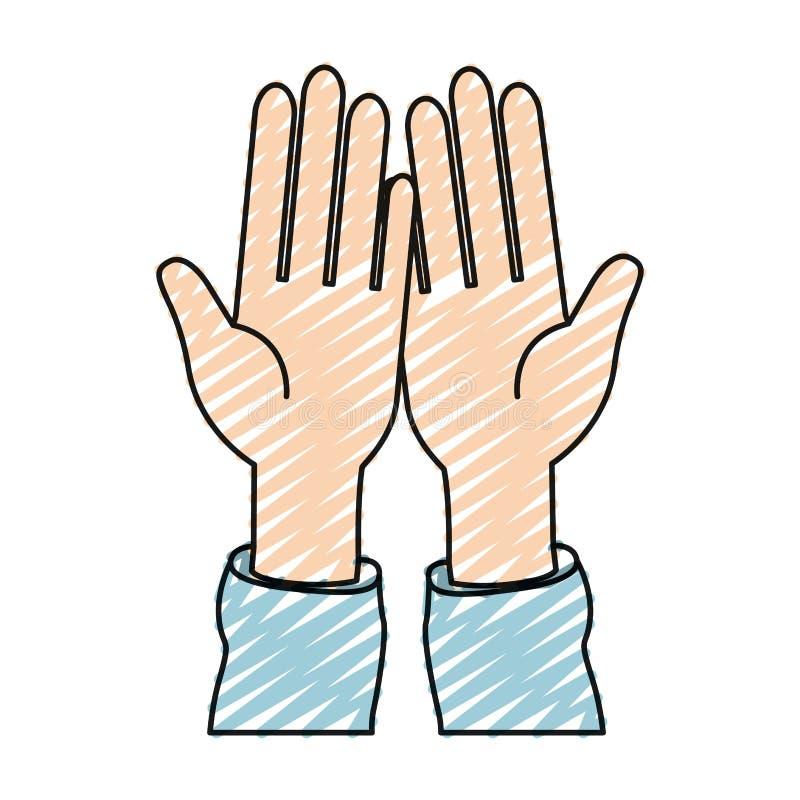 Paume de vue de face de silhouette de crayon de couleur des mains dans la réception de symbole illustration stock