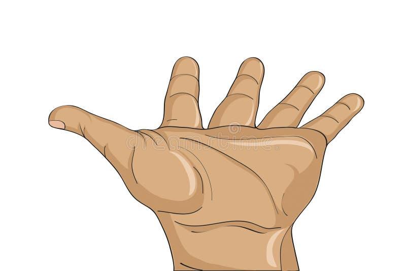 Paume ouverte de geste La main donne ou reçoit Illustration de vecteur illustration stock