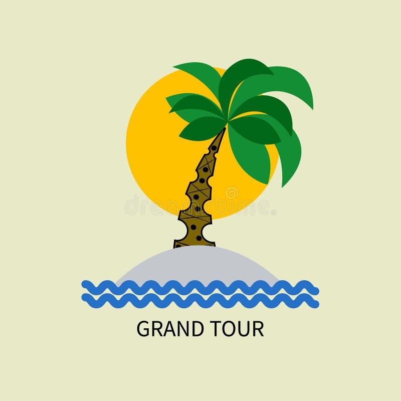 Paume, plage d'île illustration libre de droits