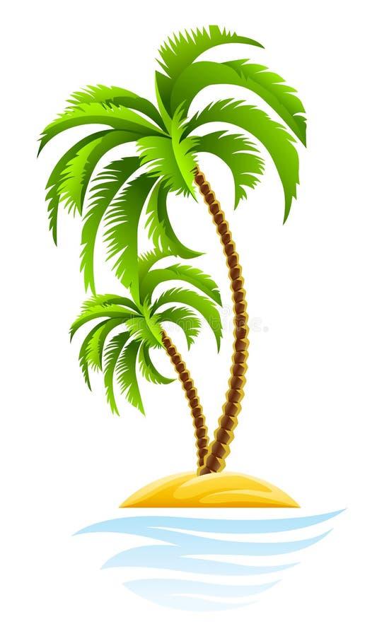 Paume tropicale sur l'île illustration de vecteur