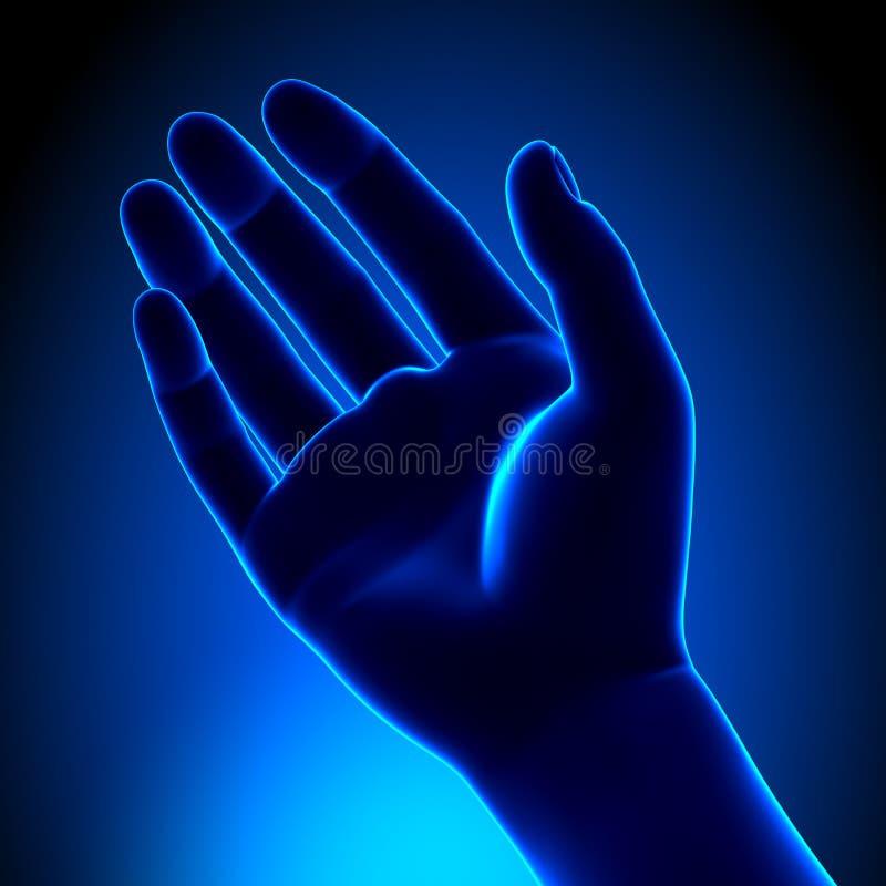 Paume vide humaine - concept bleu illustration libre de droits