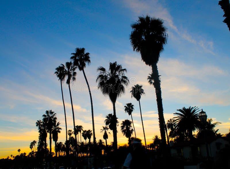Paumes de coucher du soleil au-dessus de la plage en Santa Barbara images libres de droits
