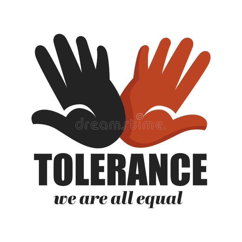 Paumes de couleur d'icône d'isolement anti par campagne de racisme de tolérance illustration stock