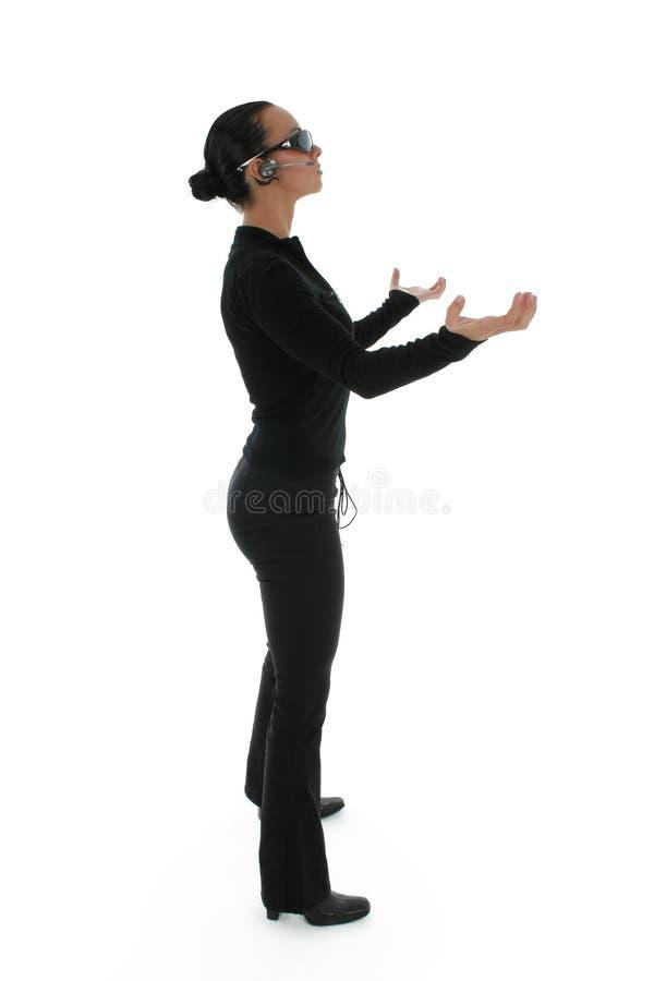 Paumes debout de femme vers le haut photo stock