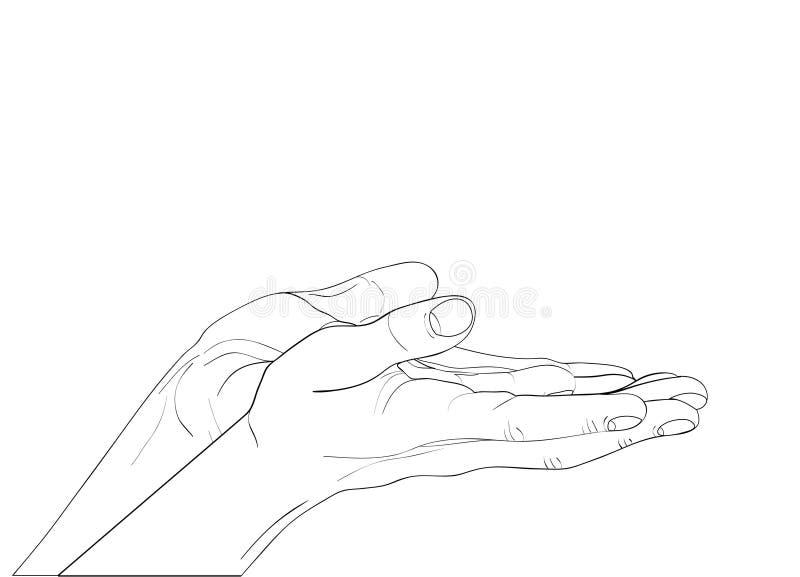 Paumes ouvertes de geste La main deux donne ou reçoit Graphique de découpe illustration de vecteur