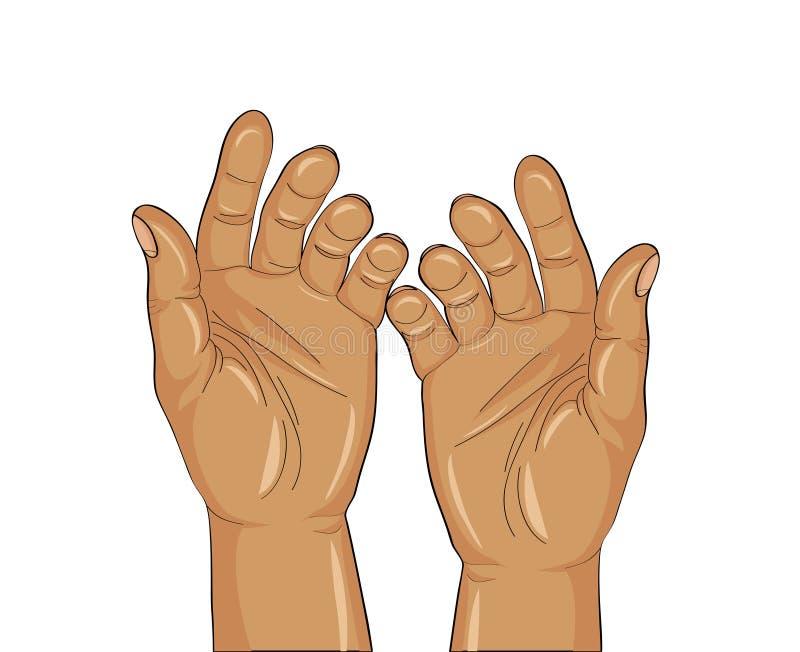 Paumes ouvertes de geste La main deux donne ou reçoit Vecteur illustration stock