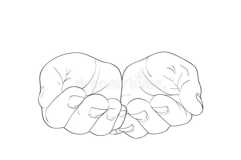 Paumes ouvertes de geste Les mains donne ou reçoit Illustration de vecteur illustration libre de droits