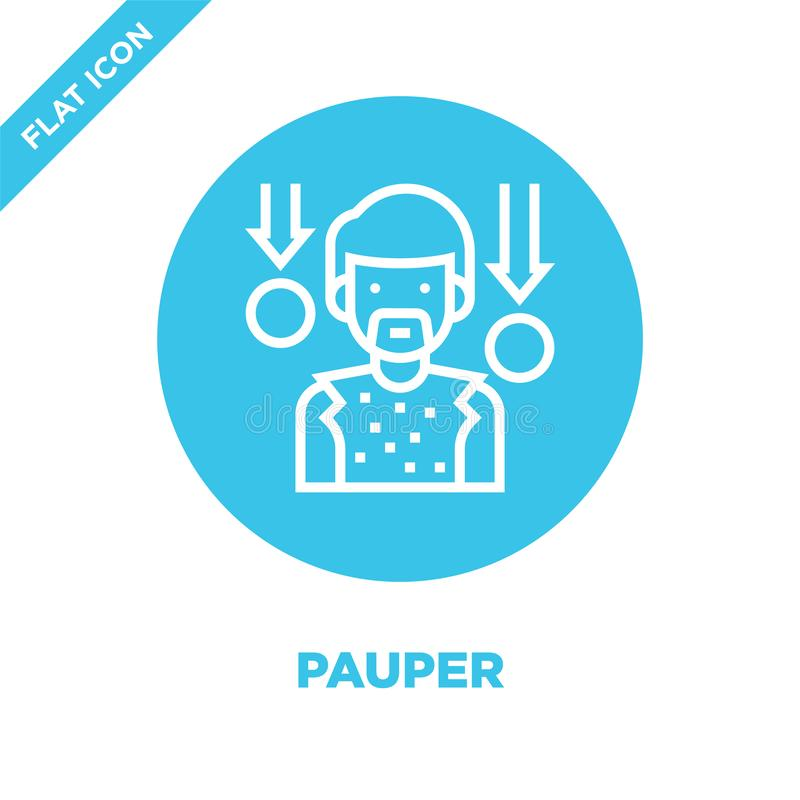 pauper icon vector from charity elements collection. Thin line pauper outline icon vector  illustration. Linear symbol for use on royalty free illustration