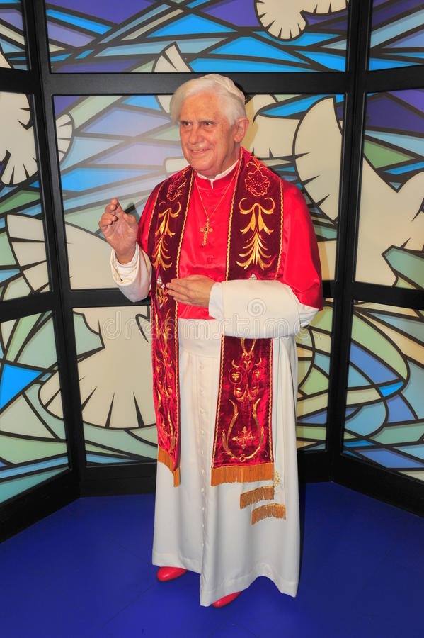 Paus Benedict XVI bij het museum van Mevrouw Tussaud's royalty-vrije stock fotografie