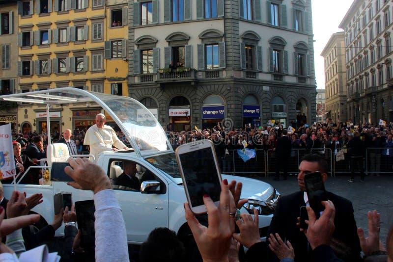 Paus Bergoglio Francesco in Florence royalty-vrije stock foto