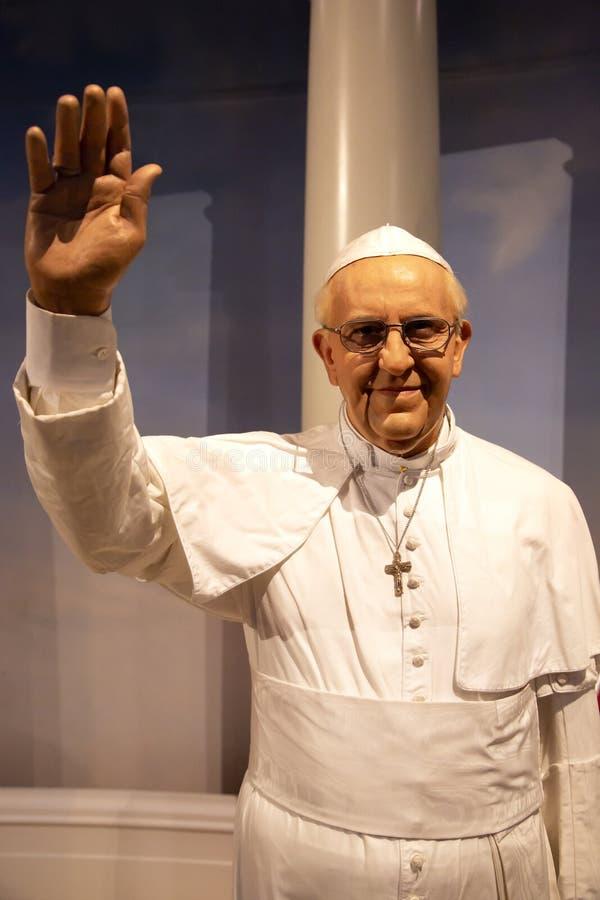 Paus Francis I in Mevrouw Tussauds van New York royalty-vrije stock afbeelding