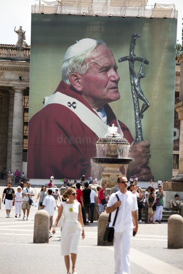 Paus John Paul II in Vierkant St.Peter royalty-vrije stock fotografie
