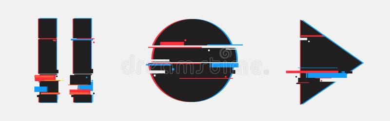 Pausa, botão do jogo Ajuste do projeto mínimo abstrato do molde para marcar, anunciando no estilo geométrico do pulso aleatório ilustração do vetor