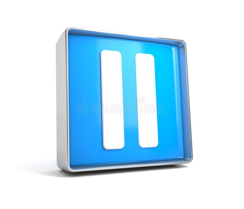 Pausa - bottone di web isolato su fondo bianco illustrazione vettoriale