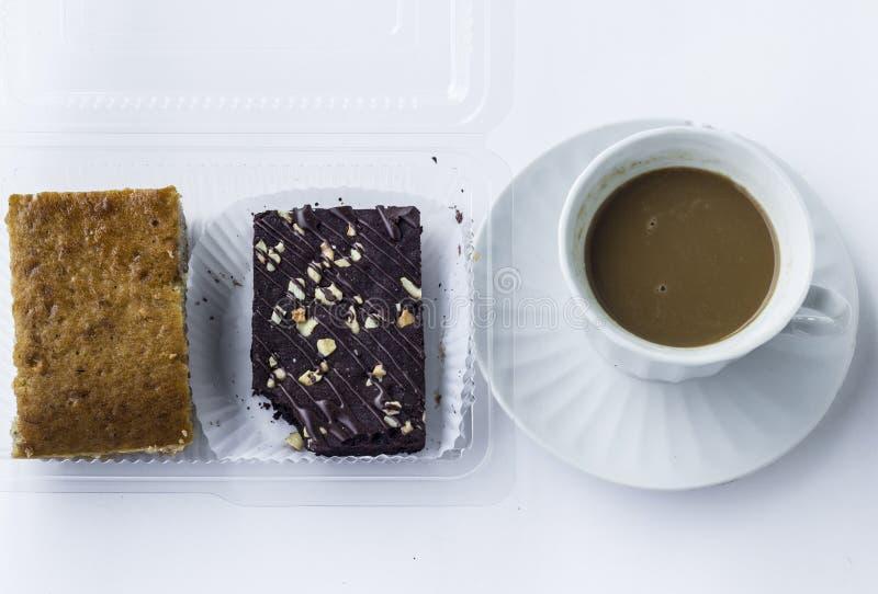 Pausa caffè con il dessert fotografia stock