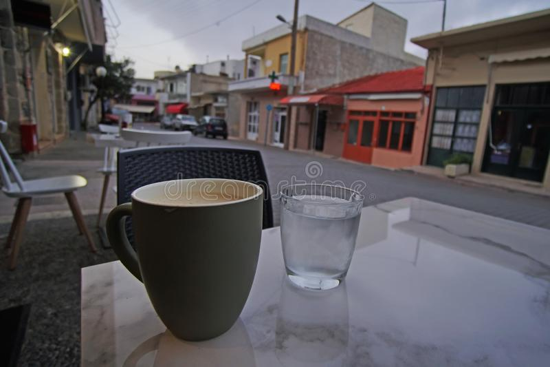 Pausa caffè nel villaggio di Zaros in Creta immagini stock libere da diritti