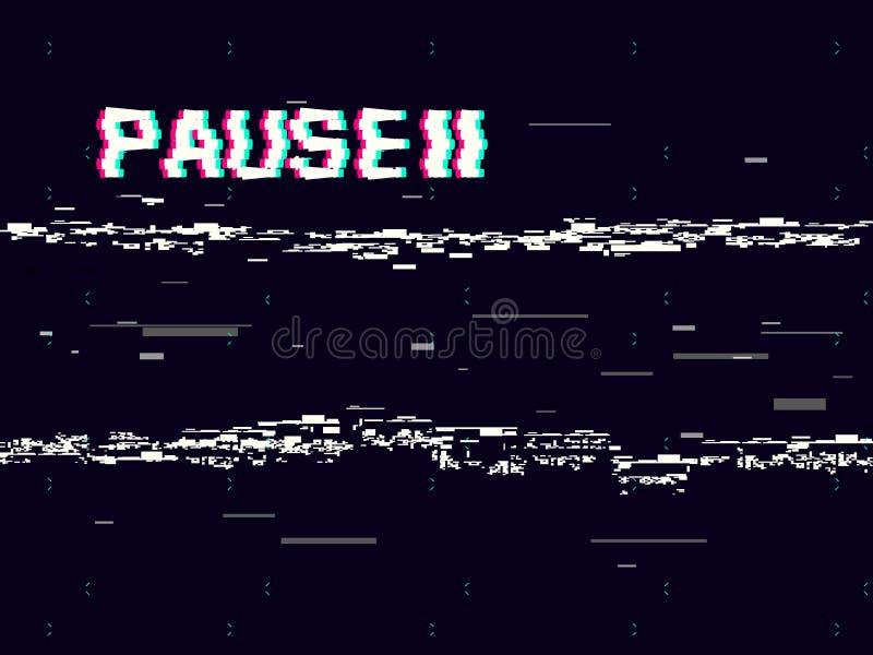 Pausa de la interferencia con símbolo en fondo oscuro Contexto retro de VHS Distorsiones blancas abstractas Efecto de la cinta de libre illustration