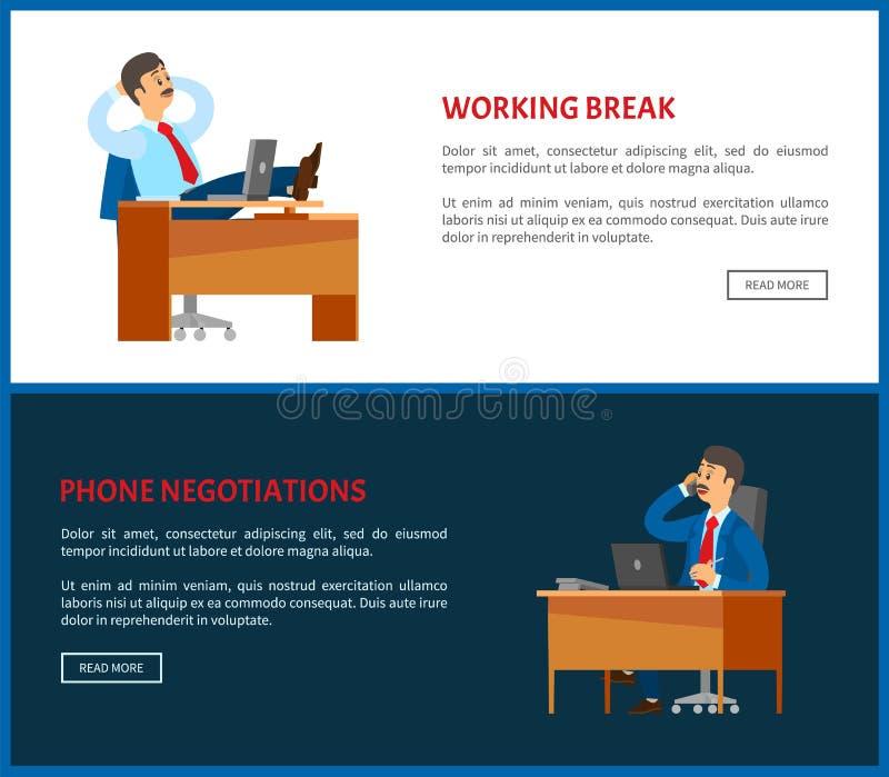 Pausa di lavoro e capo dei manifesti di negoziati del telefono illustrazione di stock