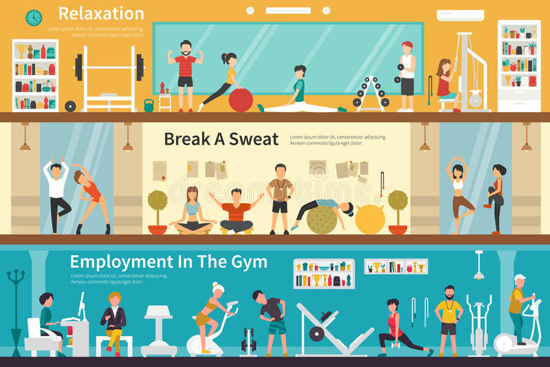 Pausa di lavoro un'occupazione del sudore nel web all'aperto pianamente interno di concetto della palestra royalty illustrazione gratis