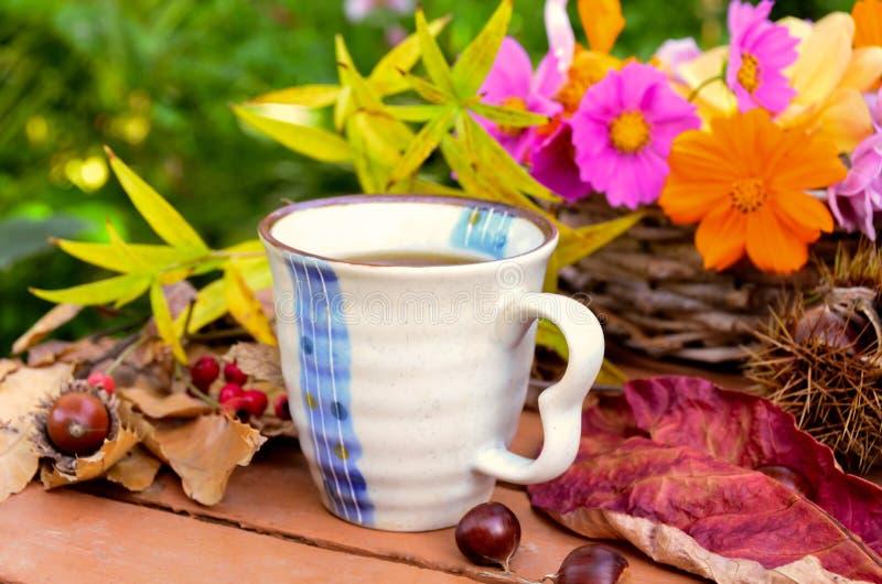 Pause-café dans le jardin d'automne photographie stock