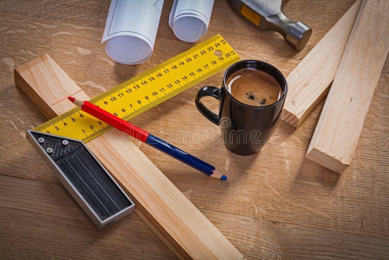 Pause-café de concept de construction de charpentier photo libre de droits