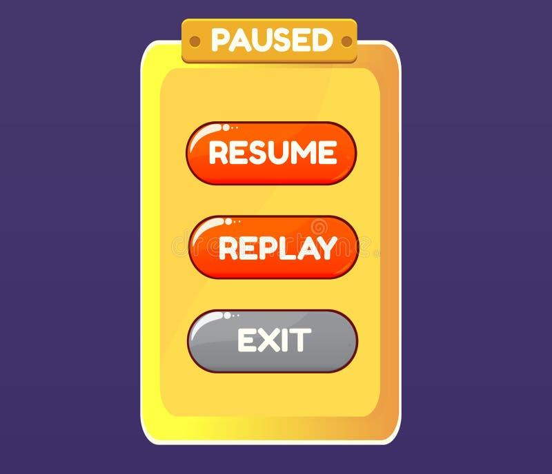 Pause de jeu GUI de l'interface utilisateur graphique UI de vecteur pour les 2d jeux vidéo illustration libre de droits