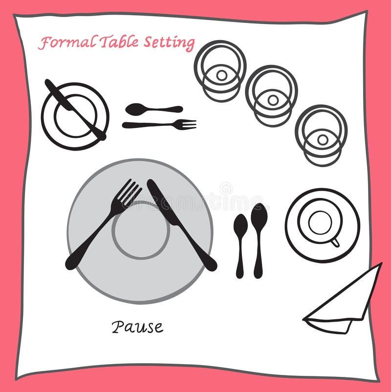 Pause, die richtige Anordnung des Gedecks für cartooned Tischbesteck speist lizenzfreie abbildung