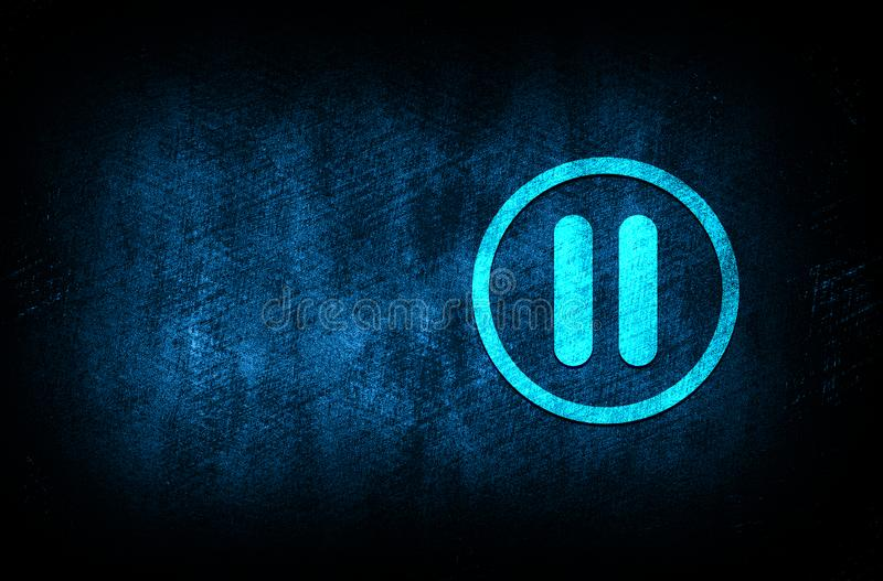 Pause icon abstract blue background illustration digital texture design concept. Pause icon abstract blue background illustration dark blue digital texture royalty free illustration