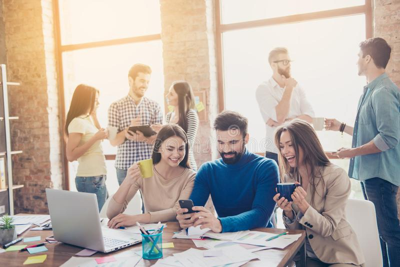 Pause for relax at work. Happy work team during break time in li royalty free stock images