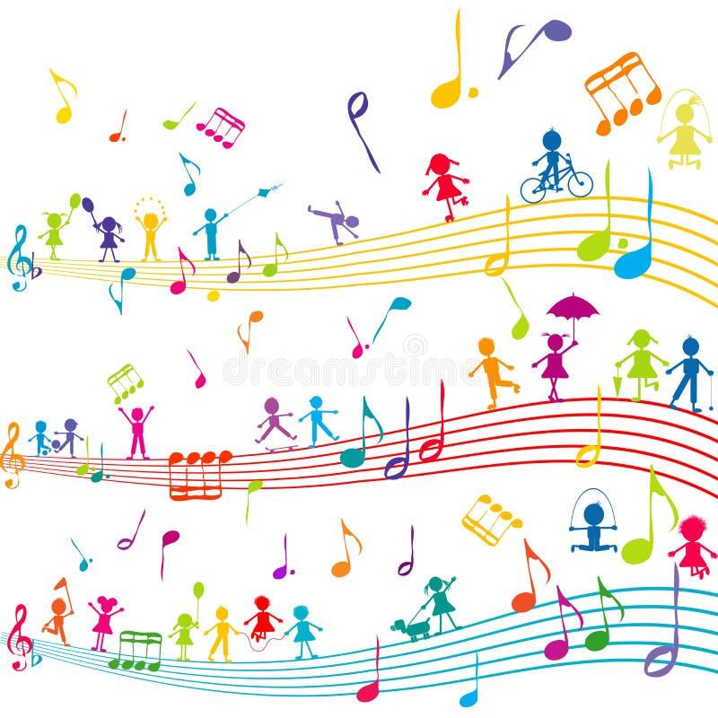 Pauta musical abstrata com crianças dos desenhos animados ilustração do vetor