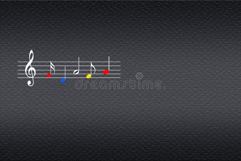 Pauta musical da música com notas musicais coloridas no fundo escuro ilustração royalty free