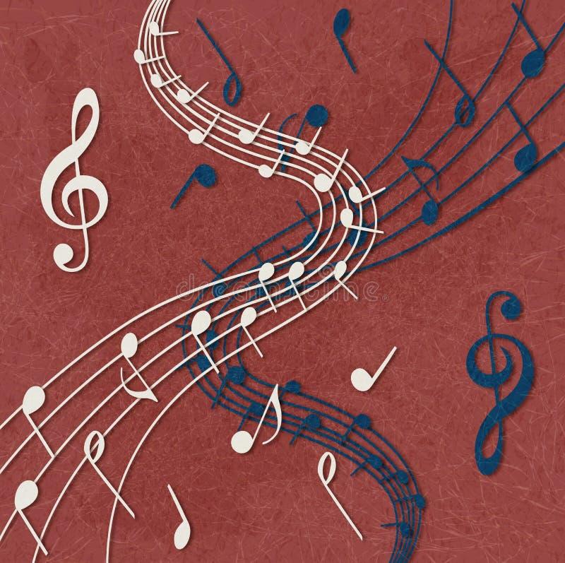 Pauta musical e notas no fundo vermelho ilustração do vetor