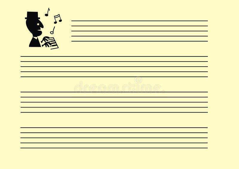 Pauta musical vazia da nota da folha da música Notas do pianista e da música ilustração royalty free