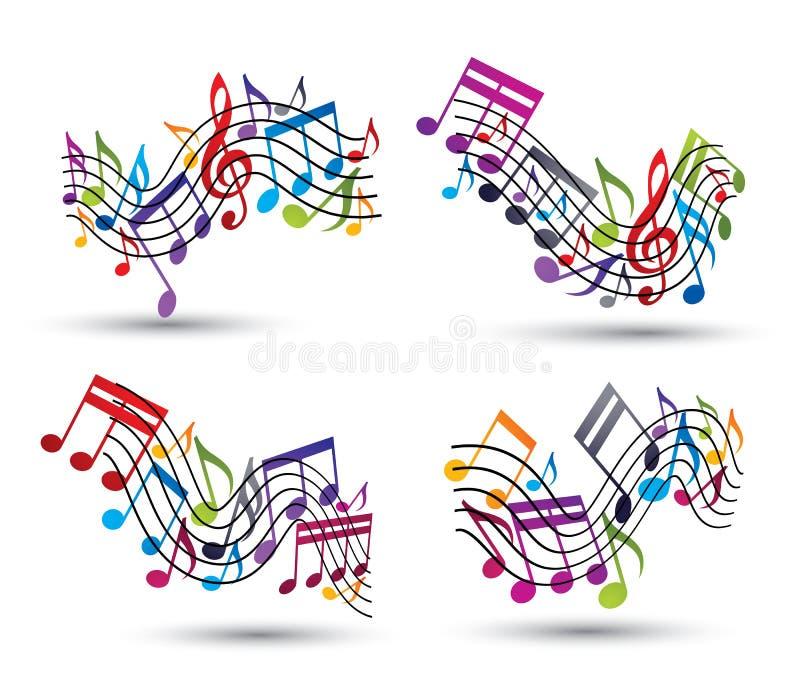 Pautas musicais alegres do vetor brilhante com notas musicais ilustração do vetor