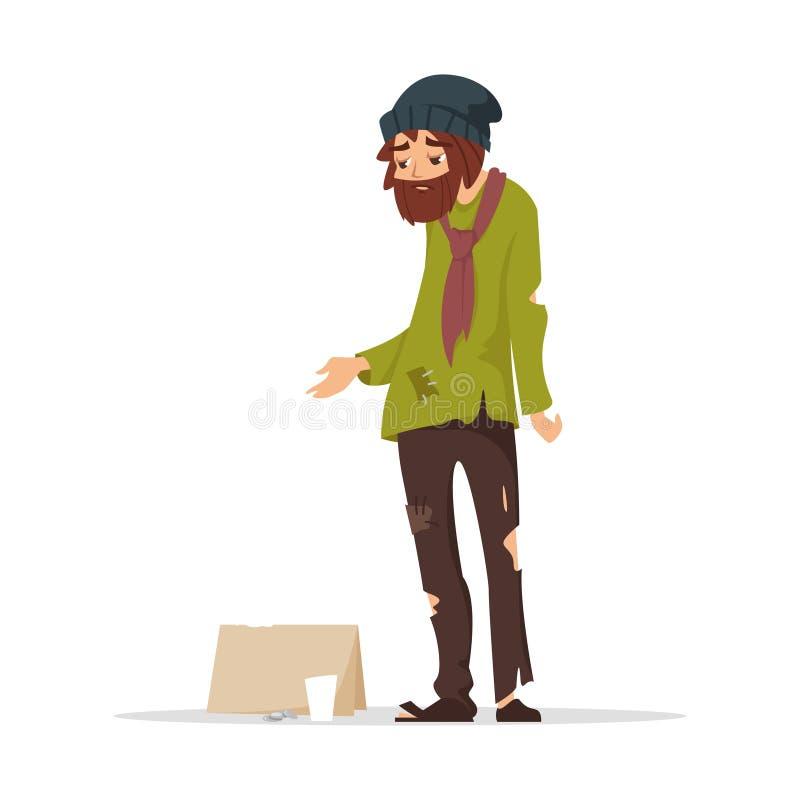 Pauvre homme dans des vêtements déchirés priant l'argent illustration de vecteur