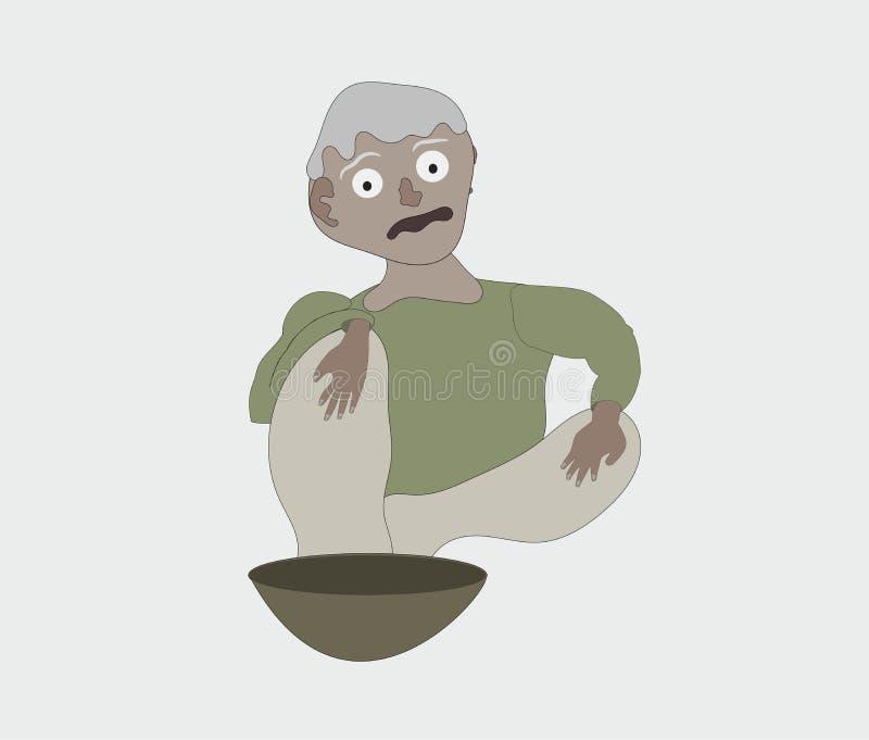 Pauvre mendiant dans la bande dessinée verte d'illustration de vecteur de chemise illustration stock