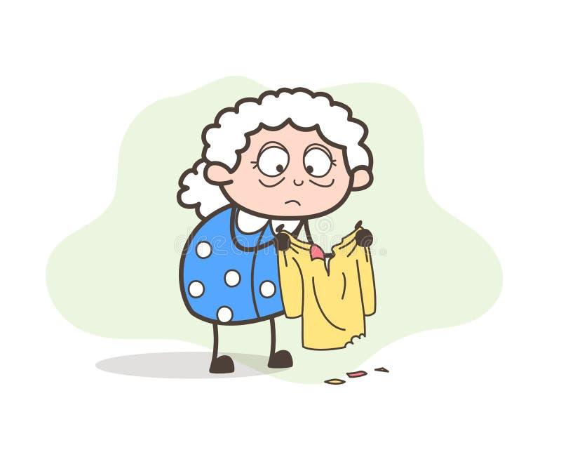 Pauvre vieille Madame Sad de bande dessinée pour son illustration déchirée de vecteur de vêtements illustration libre de droits