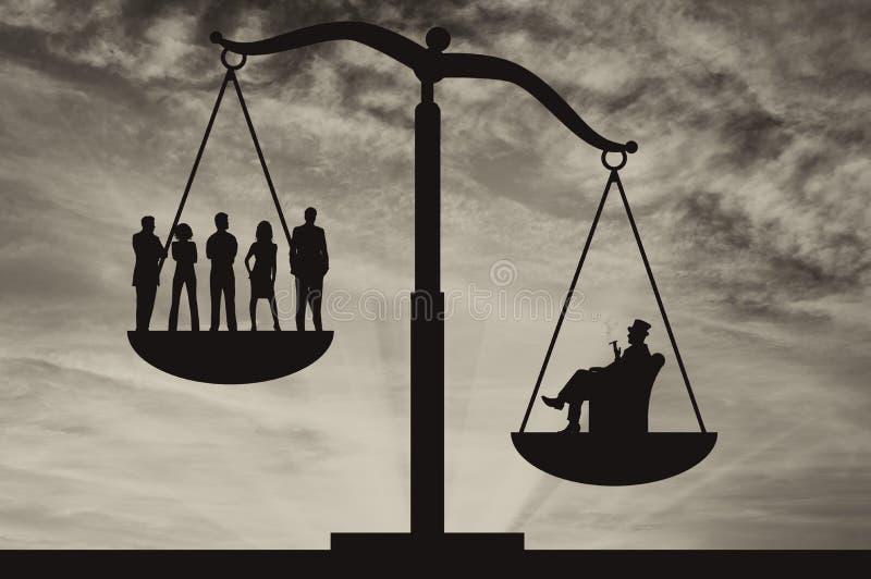 Pauvres personnes et homme d'affaires riche sur des échelles illustration de vecteur