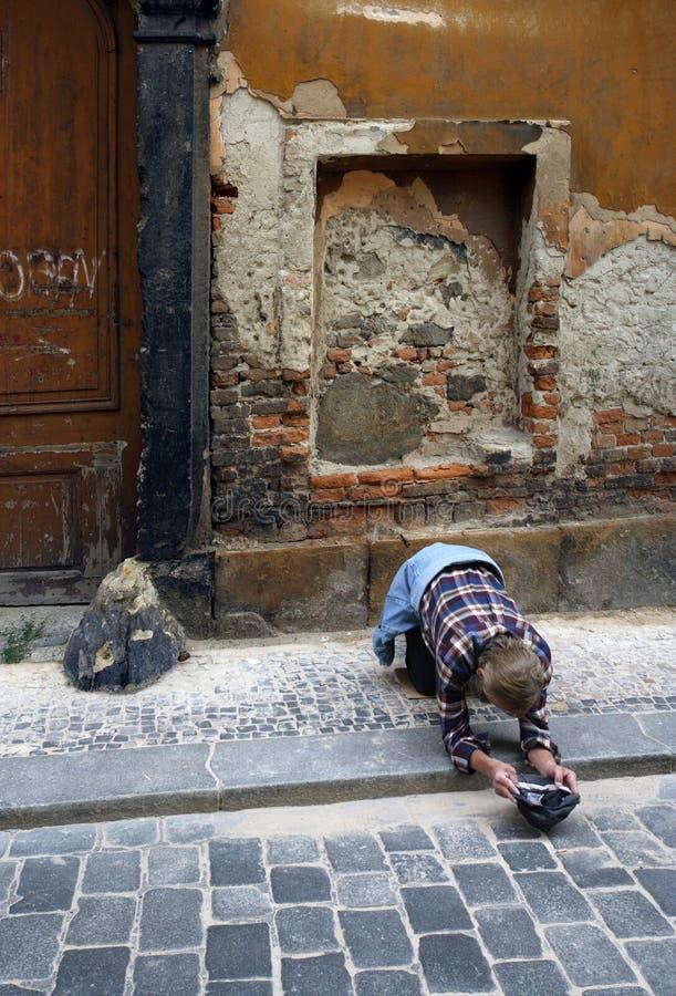 Pauvreté à Prague photographie stock libre de droits