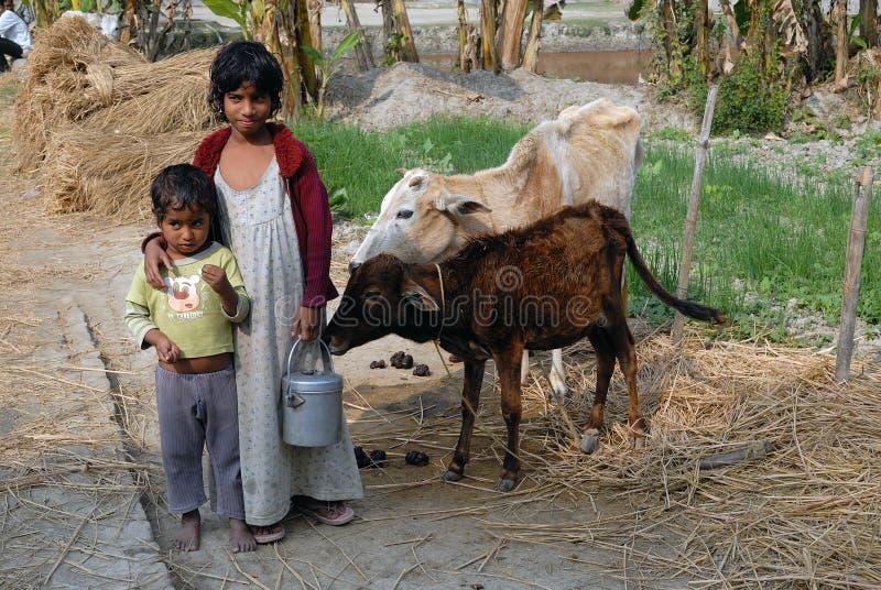 Pauvreté rurale en Inde images libres de droits