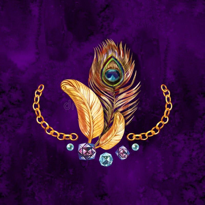 Pauw gouden veer de uitstekende achtergrond van de krulwaterverf Luxebehang royalty-vrije illustratie