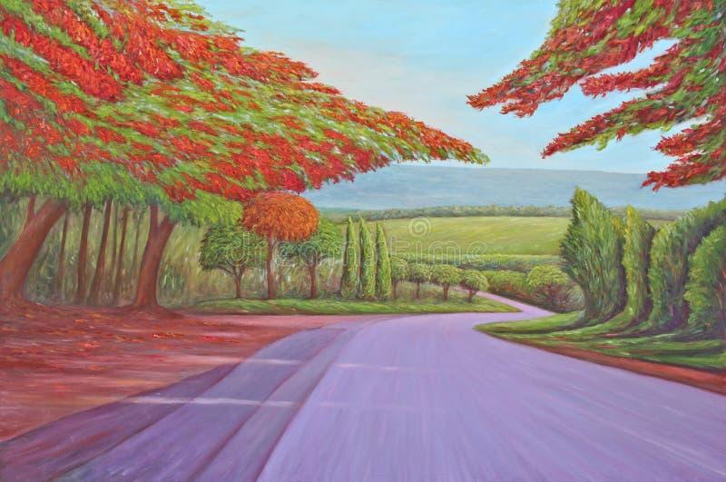 Pauwbloemen, origineel olieverfschilderij stock fotografie