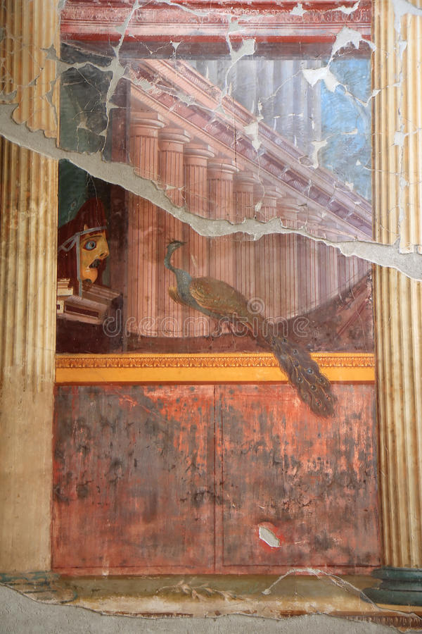 Pauwmuurschildering in Roman Villa Poppaea, Italië royalty-vrije stock fotografie